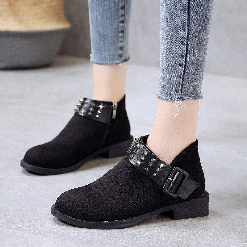 6df22dbd86 Botines Invierno La 2 Gamuza Remaches Hebilla Mujer 2018 Zapatos Estilo  Correa Botas Coreano Gran 1 Martin De ...