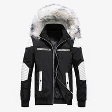 Высококачественная Толстая Теплая мужская зимняя куртка, пальто с большим мехом и капюшоном, Мужская парка в уличном стиле, повседневное облегающее Мужское пальто