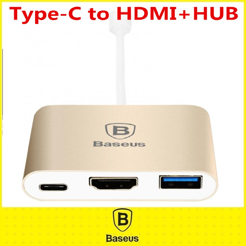 Original Baseus 3 in 1 Type-C To HDMI+HUB Adapter Aluminum Alloy USB Date Type C Cable For New Macbook Connector