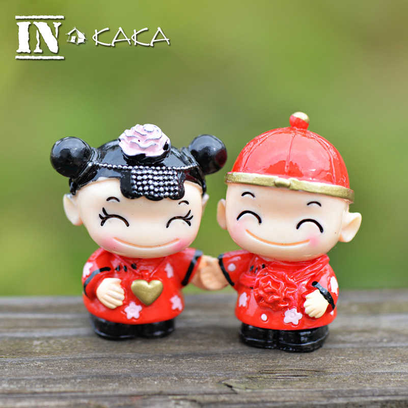Chinese the bride and groom doll action figures Micro garden terrarium figurine home statue wedding Decor miniature accessories