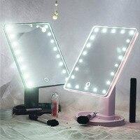 22 LED Portatile Donne di Trucco Del Viso Specchio 360 Gradi di Rotazione Tocco di Induzione Da Tavolo vanità Estetica ingrandimento dello specchio Led