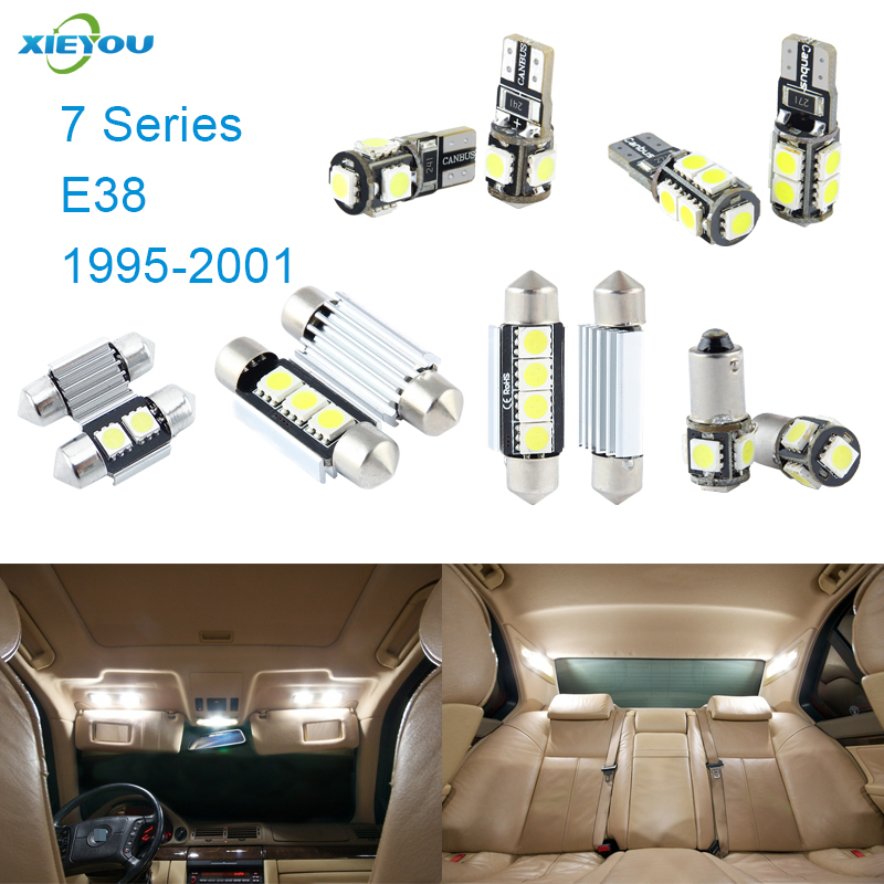 XIEYOU 18 հատ հատ LED Canbus- ի ներքին լույսերի հավաքածուի փաթեթ 7 E38 սերիայի համար (1995-2001)