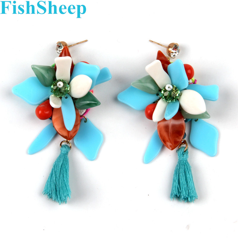 FishSheep, богемные серьги с кисточками, Boho, этнические Висячие длинные висячие серьги с кристаллами для женщин, модные женские ювелирные изделия