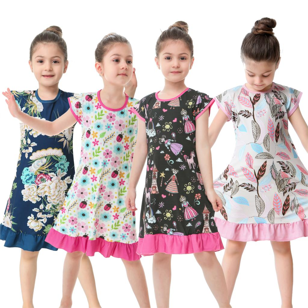 children short sleeved Nightgown suit Children's summer nightdress Girls lovely Home Furnishing clothes Children's Day gifts(China)