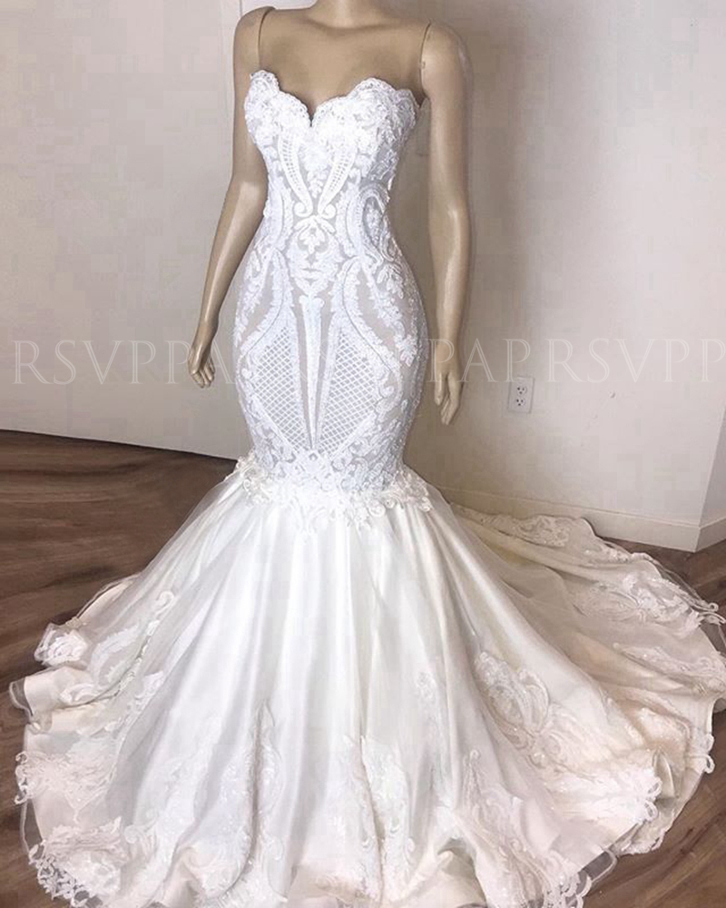 Elegant Sweetheart Mermaid Wedding Dresses 2020 Applique Lace African Bridal Boho White Beach Wedding Gowns