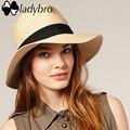 Ladybro Caliente 2017 de Moda de Verano de Jazz Sombrero de Playa Ala Grande Sol sombrero de Panamá Sombrero De Paja Ocasional Unisex Mujer Hombre Cap Con Negro cinta