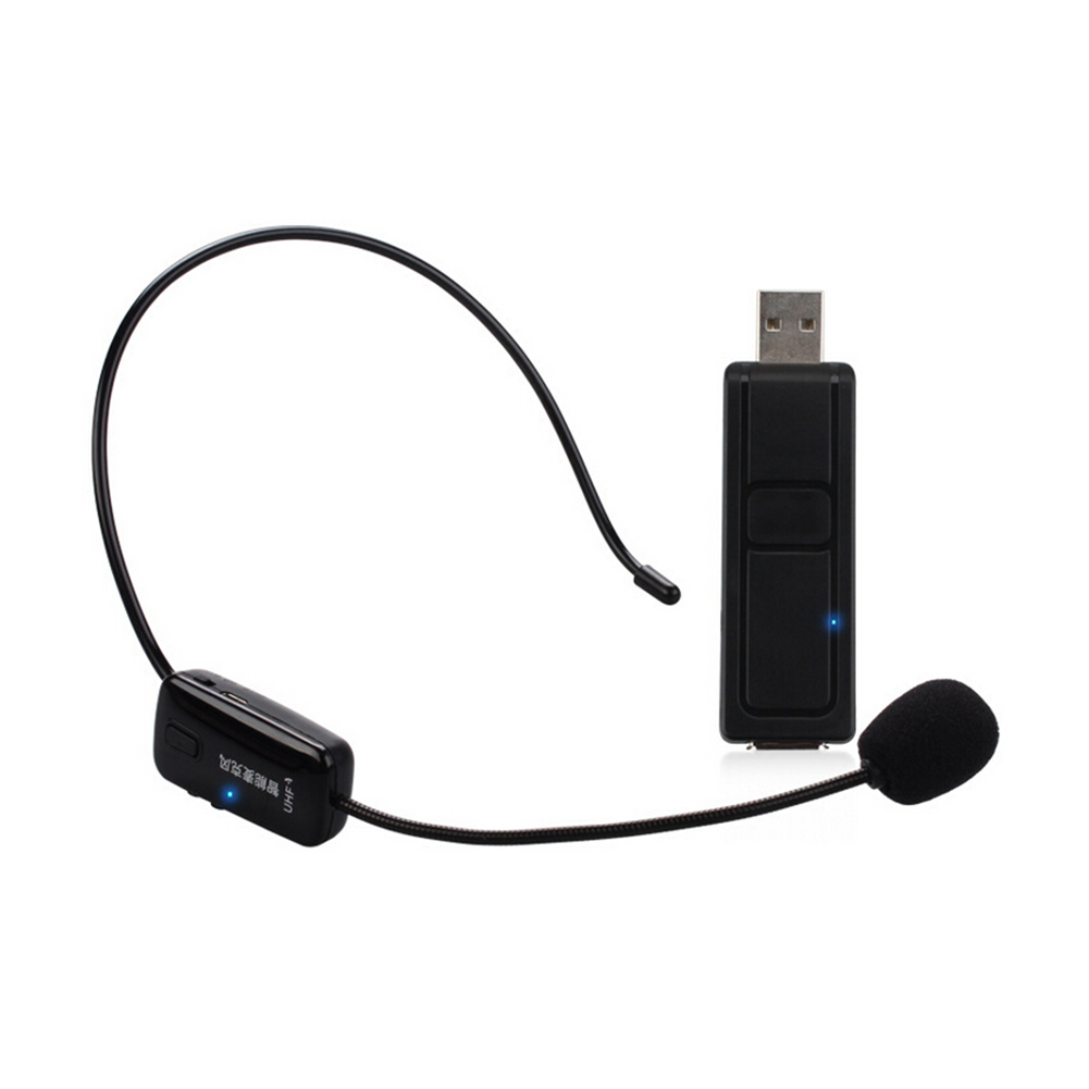 UHF Stage Wireless Headset Microphone Receiver Condenser Mic with USB Transmitter for Speaker Loudspeaker with Mic Interface