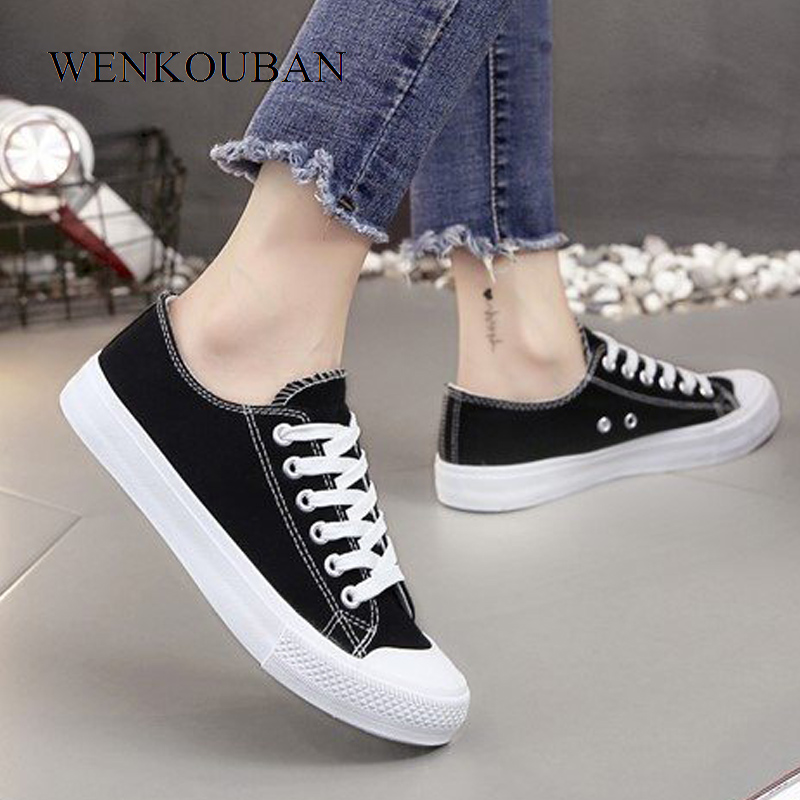 Fashion Canvas Shoes Women Sneakers White Summer Casual Vulcanize Shoes Ladies TrainersLace-up Basket Femme zapatillas mujerFashion Canvas Shoes Women Sneakers White Summer Casual Vulcanize Shoes Ladies TrainersLace-up Basket Femme zapatillas mujer