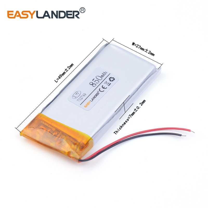 3pcs /Lot 702749 850mah 3.7v lithium Li ion polymer rechargeable battery For Watch PDA toys battery pack medical device