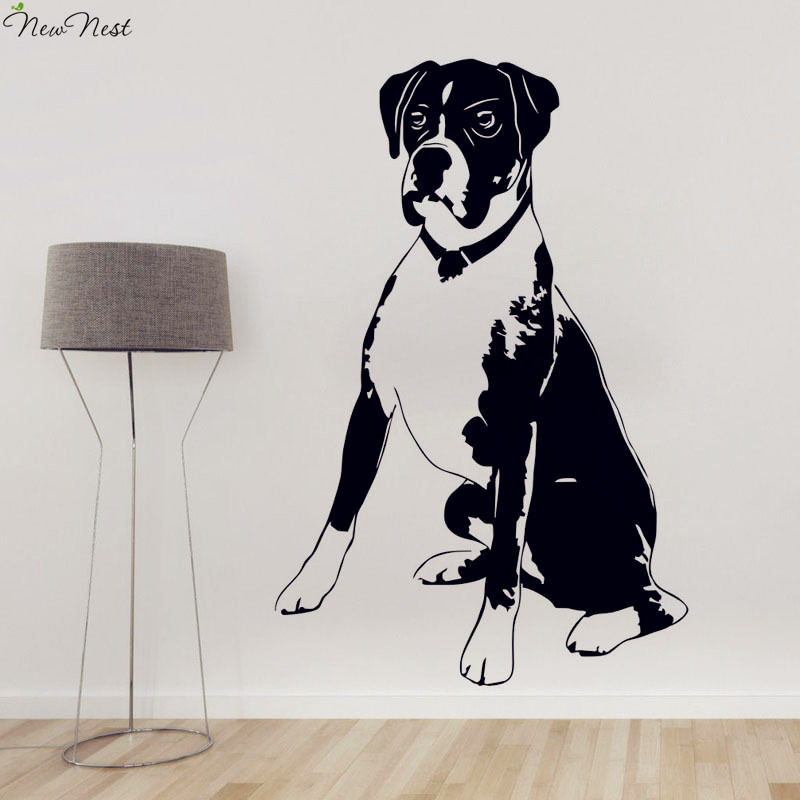 Free Shipping Boxer Dog Vinyl Wall Decal Home Decor Cute Animal Removable Mural Art