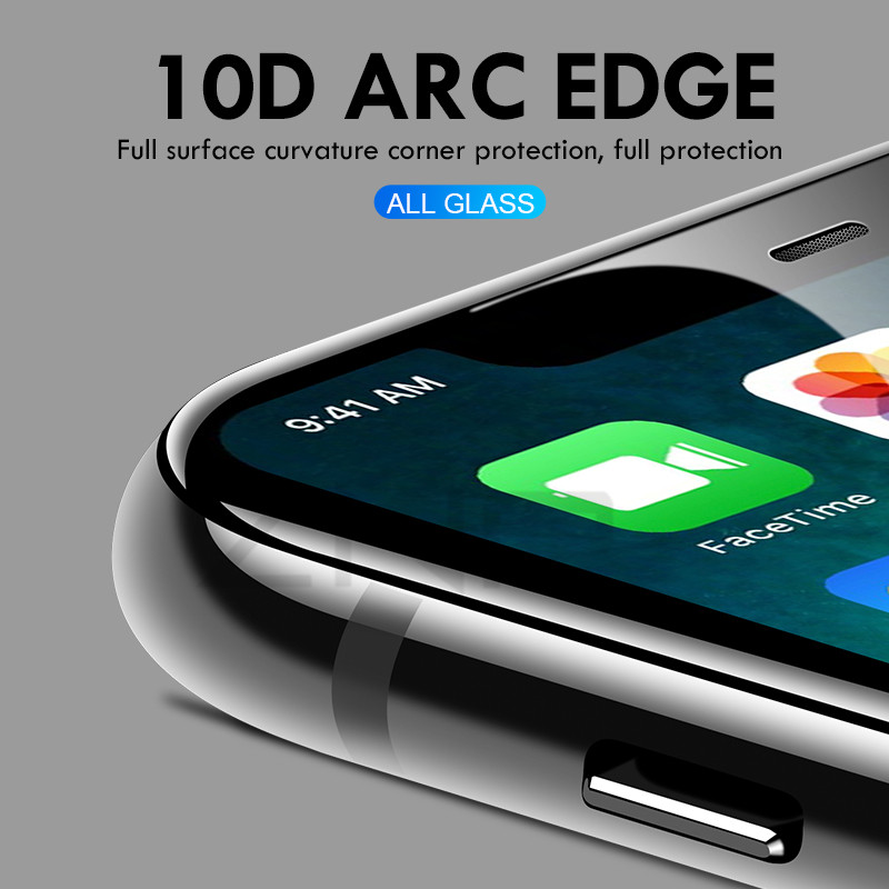 Image 3 - 10D Tempered Glass on the For iPhone X 7 8 6 Plus Screen Protector Full Cover Protective Glass For iPhone 6 6s 7 XR XS Max film-in Phone Screen Protectors from Cellphones & Telecommunications
