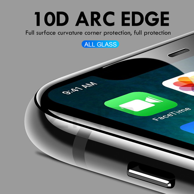 10D Tempered Glass on the For iPhone X 7 8 6 Plus Screen Protector Full Cover Protective Glass For iPhone 6 6s 7 XR XS Max film
