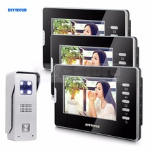 DIYSECUR 7″ Video Door Phone Intercom System 1Camera + 3Monitors For Villa Home Office
