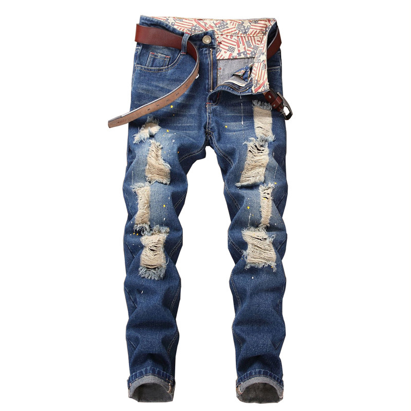 Newsosoo Fashion Men Ripped Painted Jeans Pants Straight Destroyed Denim Trousers With Big Holes Distressed Jean Joggers Washed ...