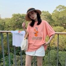 Simple Cute Orange Printed Letter Cotton Loose Fresh Vintage College Wind Short Sleeve Female T-shirts