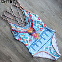 ZMTREE 2017 Newest Swimwear Women Printed Bandage One Piece Swimsuit Set Backless Bathing Suit Monokini Maillot