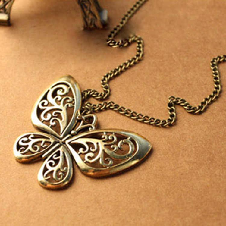 Vintage Hollow Butterfly จี้สร้อยคอผู้หญิงทองสร้อยคอประณีตแฟชั่นสร้อยคอยาวเครื่องประดับขายส่ง