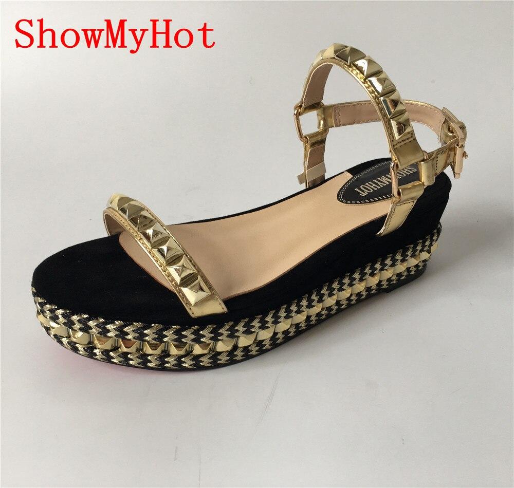 Showmyhot 여름 신발 여성 샌들 하이힐 여성 가죽 신발 오픈 발가락 웨지 플랫폼 샌들 로마 샌들 zapatos mujer-에서중 힐부터 신발 의  그룹 1