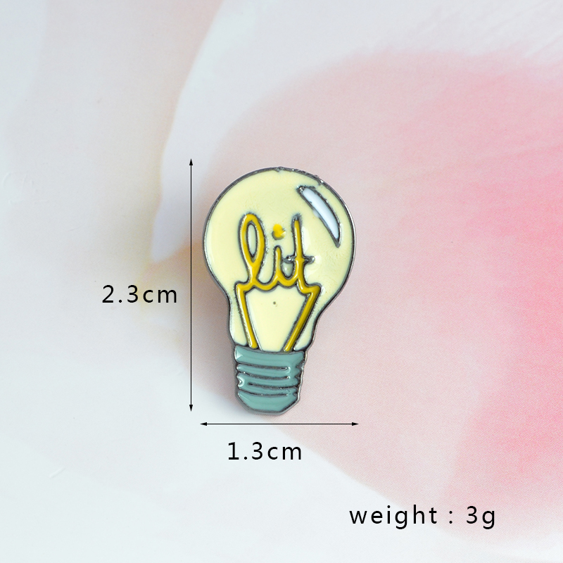Cartoon Enamel Light bulb Button Pin Button Bag Denim Jacket Lapel Collar Pin Badge Fashion Jewelry Gift For Kids Girl Boy