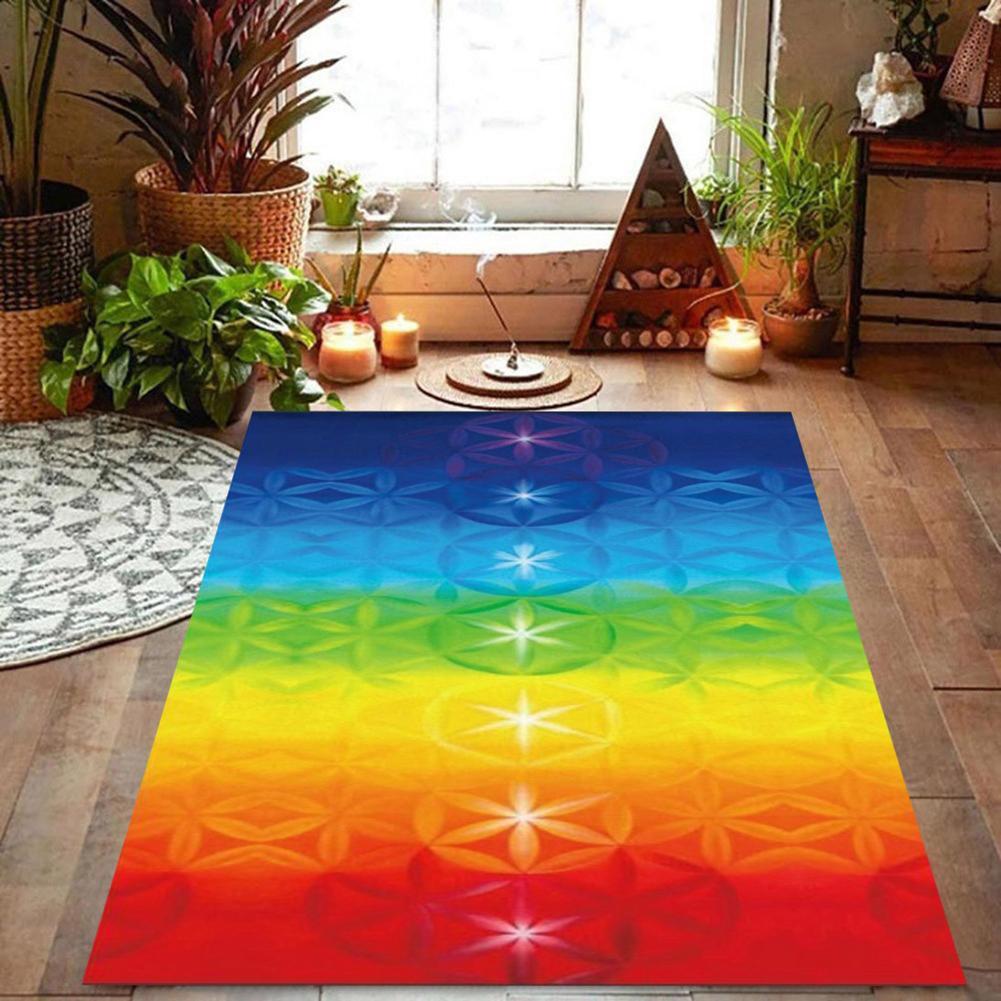 Rainbow 7 Chakra Mandala Bohemia Blanket Tapestry Summer Beach Towel Yoga Mat