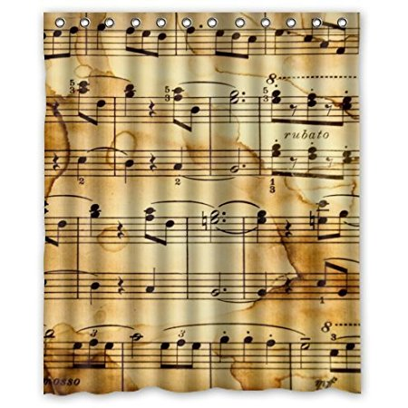 Home Decoration Music Notes Vintage Waterproof Shower Curtain Polyester  Fabric 160x180cm Shower Curtains(China (