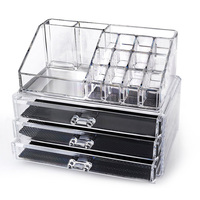 Multifunction Acrylic 3 Drawer Style Makeup Cosmetics Jewelry Storage Box Case Rack Organizer Transparent