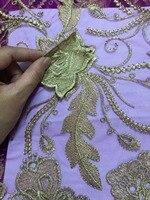 Tulle Encaje Telas 3D Flor Alta Calidad púrpura y oro Encaje Telas hermosa applique nigeriano Encaje Telas para la boda qa754