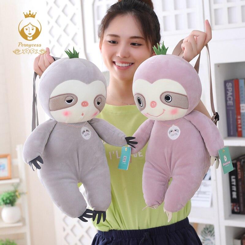 1PCS 45CM Lovely Sloth Plush Toy Creative Soft Sloth Plush Backpack Shoulder Bag Children Bag Kids Gift