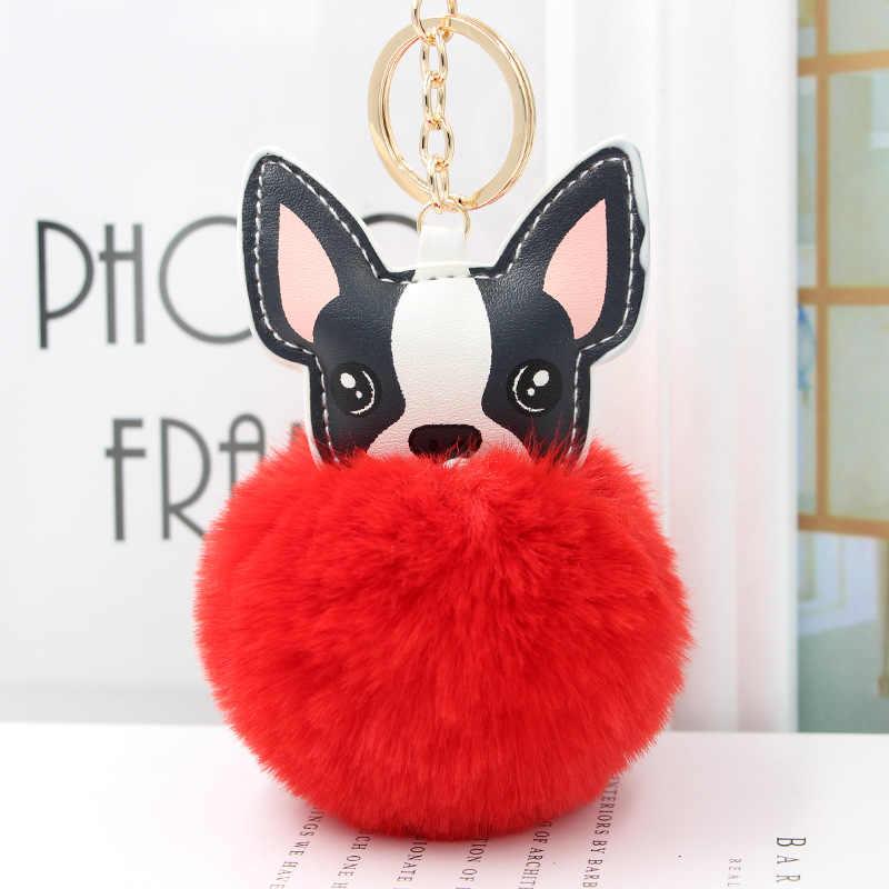 กระต่ายขนปุยลูกภาษาฝรั่งเศส Bulldog พวงกุญแจ Pompom พวงกุญแจ Pu หนังสัตว์สุนัขพวงกุญแจกระเป๋า Charm Trinket