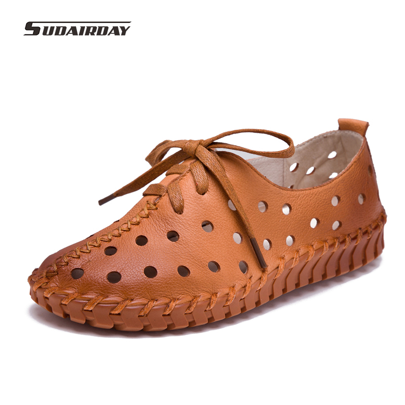 2017 New Spring Summer Leather Shoes Women Flats Lace Up Women Moccasins Loafers Casual Comfort Breathable Casual Shoes 5 Color women s shoes 2017 summer new fashion footwear women s air network flat shoes breathable comfortable casual shoes jdt103
