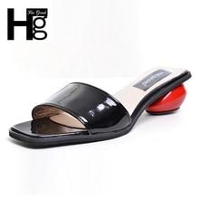 Hee Grand/летние женские тапочки 2017 сладкий платформы круглый каблук обувь черный, белый цвет женские шлёпанцы размер 35-39 XWT631