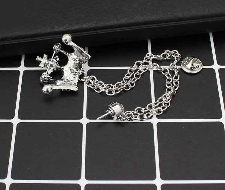 Promocja luksusowy wisior z koroną garnitur łańcuch broszka Brincos sweter Pin Badge Pet Memorial biżuteria szalik klamra Bijoux prezent na Boże Narodzenie X1030