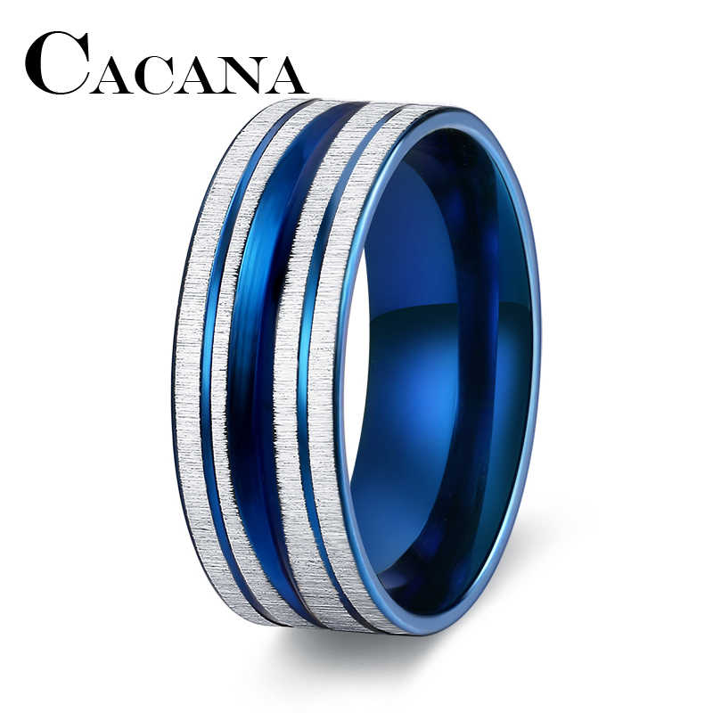 CACANA  Blue Steel Rings for Men Jewelry Classical Men Silver and Blue Ring Stainless Steel Thin blue line Ring Top Quality