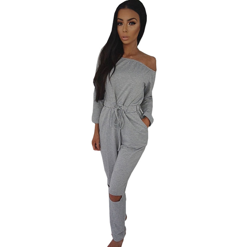 Off Shoulder Hollow Out Jumpsuits (Plus Size Available)