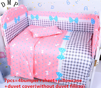 Promotion! 6/7PCS Good Quality Children Newborn Baby Bedding Set for Girls,Cheap Price Kit Crib Bedding , 120*60/120*70cm