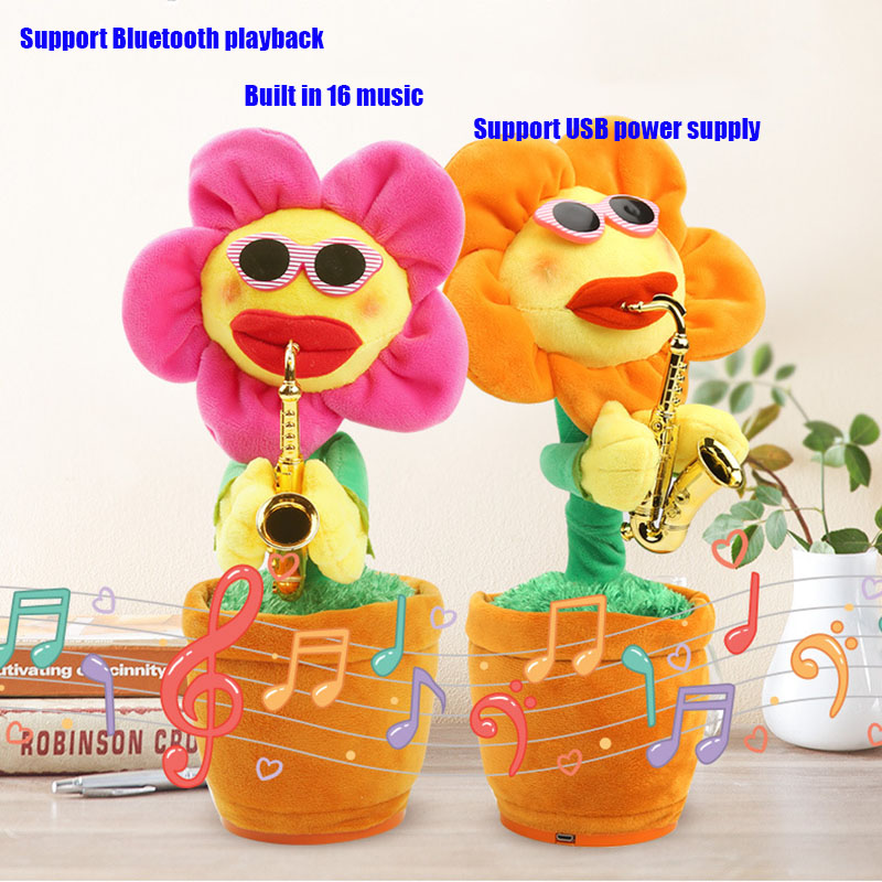 US $30 89 |Enchanting Sunflower Support Bluetooth Stuffed Plush Shake Sound  Toys Will Sing Dance saxophone Magic Sunflower Gifts-in Toy Phones from