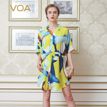 VOA Casual Blouses Women Gorgeous Bright Yellow Color Silk Crepe Fabric Loose V Collar Half Sleeve Arc Tops B7033
