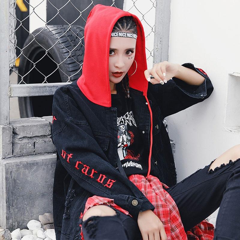 BONU New Letter embroidery Jean Jackets Unisex Loose Denim Jacket Boy Friend Harajuku Oversize Female Hip Hop Basic Coats 3