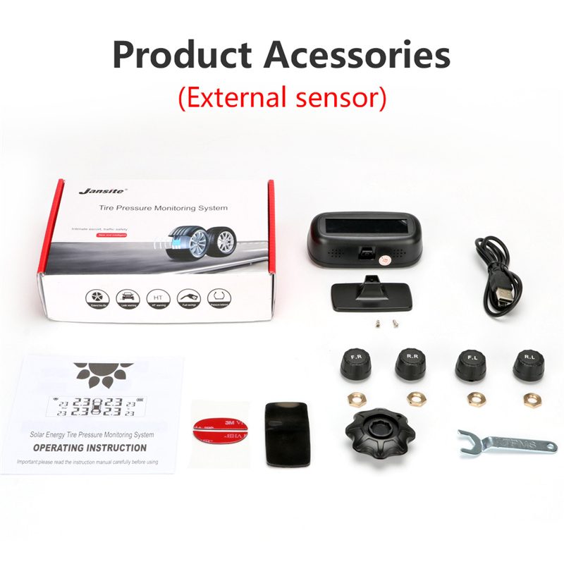 Original Solar TPMS Car Tire Pressure Alarm Monitor System Display Intelligent Temperature Warning Fuel Save With 4 Sensors Tpms