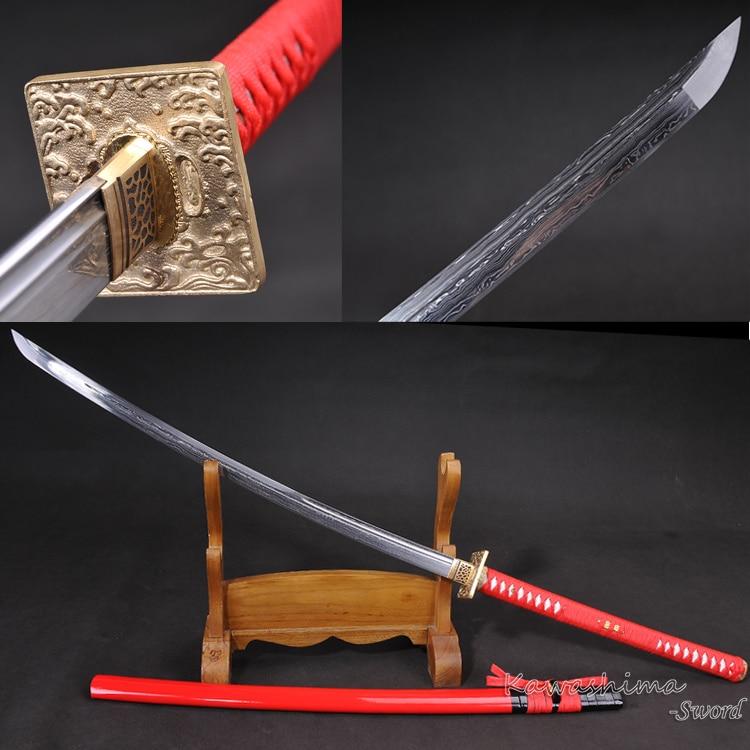 Handmade Japanese Sword Forged Folded Steel Full Tang Razor Sharpness Red Wooden Scabbard Naginata Odachi Long