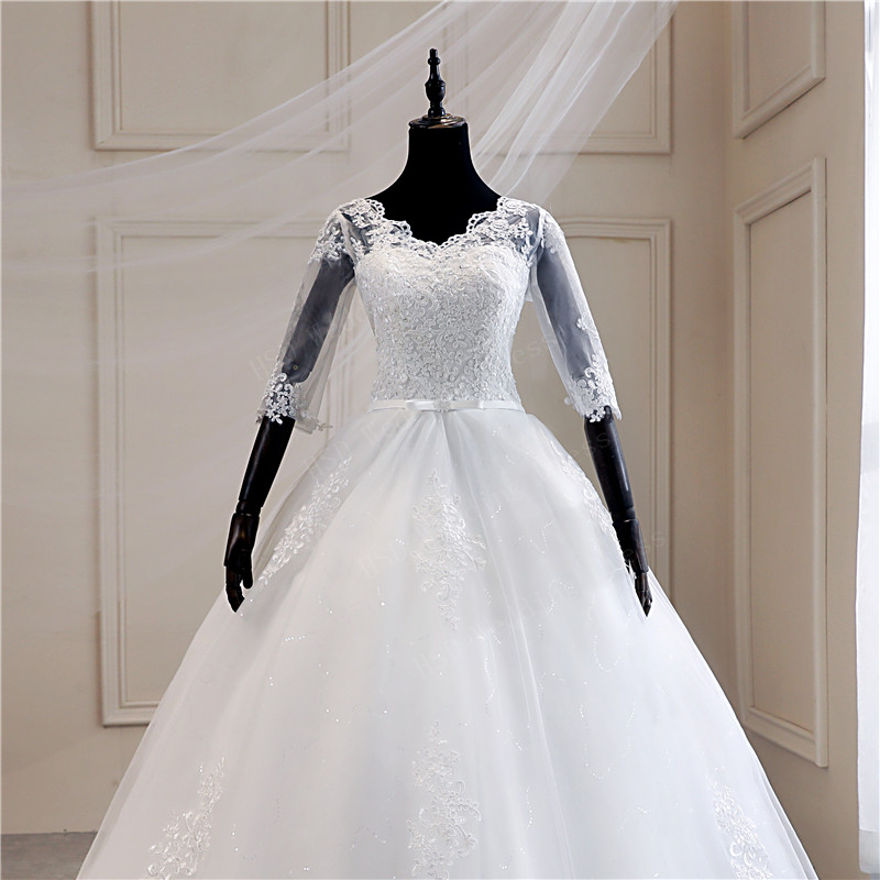 Image 4 - Real Photo Lace Embroidered Organza Tulle Sweetheart Off White 