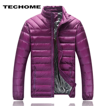 TECHOME Autumn Duck Down Jacket Ultra light 80% Warm Winter Parkas mens collar