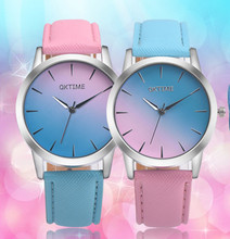 Luxury candy gradient colorful Women watches brand fashion ladies watch women PU leather dial Clock Wristwatch relogio feminino