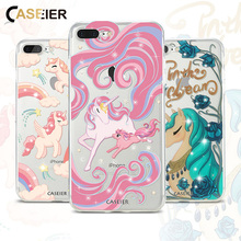 CASEIER For iPhone 8 Case Cartoon Unicorn Inter Rhinestones 7 & Plus Cases Transparent Soft TPU Slim Fashion
