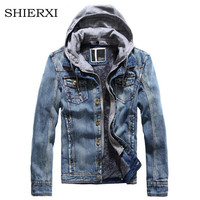 Hooded Denim Jacket Men Winter Suit Jackets And Coats Men Thick Velvet Casual Jeans Menswear Winter