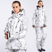 Женский лыжный костюм, женский лыжный костюм для сноубординга, женские куртки с цветочным принтом+ штаны, зимние лыжные комплекты для женщин