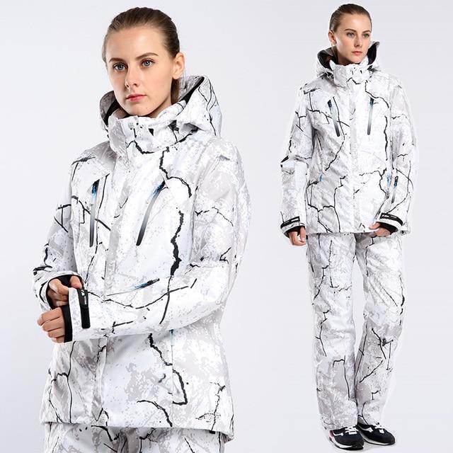 2018 Новый женский лыжный костюм женский лыжный Сноубординг костюм женский цветочный принт куртки + брюки зимние лыжные Наборы женский