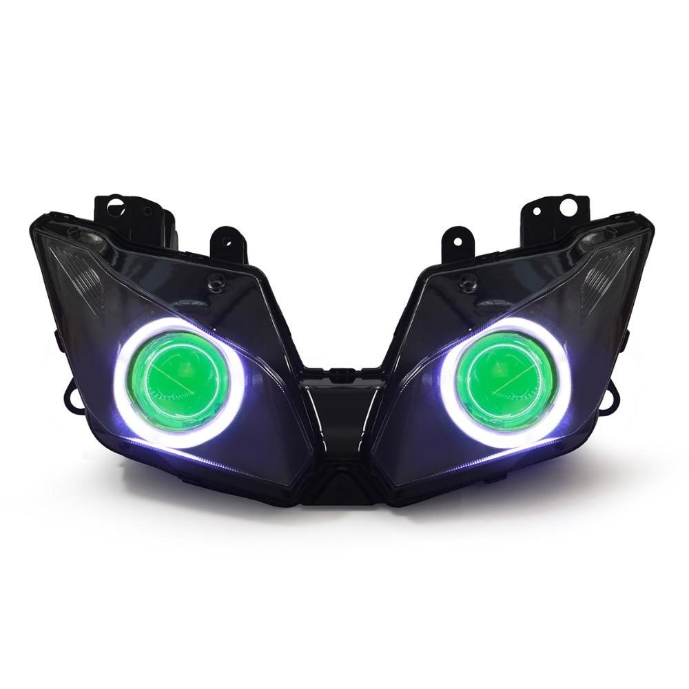 KT Headlight for Kawasaki Ninja 300 2013 2016 LED Angel Eye Green Demon Eye Motorcycle HID