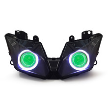 KT Headlight for Kawasaki Ninja 300 2013-2016 LED Angel Eye Green Demon Eye Motorcycle HID Projector Assembly 2014 2015