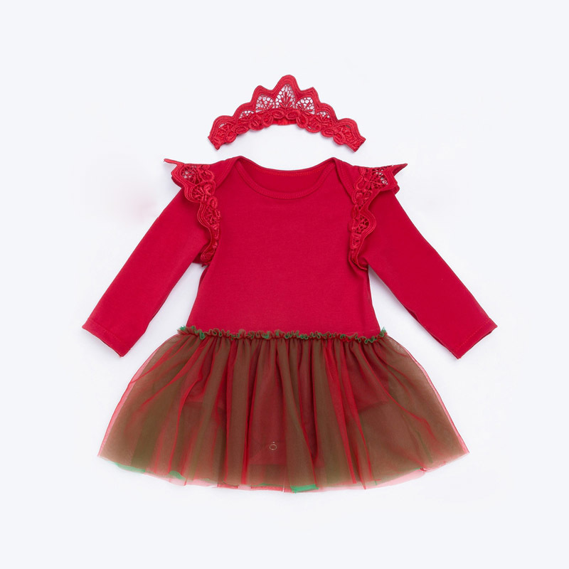 Infant Baby Girls Dress Sets Red Pink Bodysuit Headband 2 Pieces Suits Bebes Infantil Girl Outfits Christmas Clothes 0-2Y
